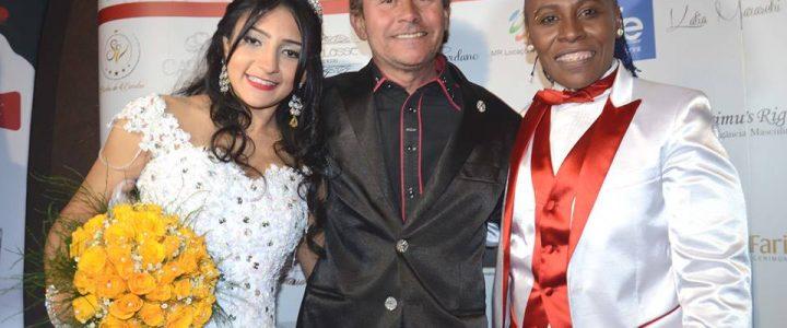 Juarez Fernandes veste Talita Santos em casamento com Pepê